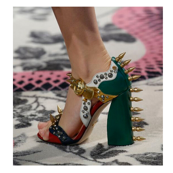2016 Spring Newest Women Chunky Heel Sandals Bullet Studs Open Toe Roma Style Ladies Summer Shoes Gold Ankle Buckle Unique Shoes<br><br>Aliexpress