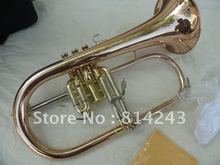 High Quality Bb Flugelhorn Phosphor Copper Flugelhorn Surface Gold Professional BB Of Monel Valves  Flugelhorn With Case