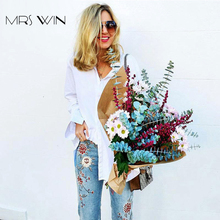 Mrs Win Women Plus Size Jeans Spandex Mid Elastic Waist Contrast Color Flower Embroidery jean Straight pockets Jeans