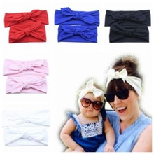 2Pc/Set Mommy and Girls Soft Cotton Rabbit Hairband Knotted Party Christmas Headband Headdress Hair Accessories(China)