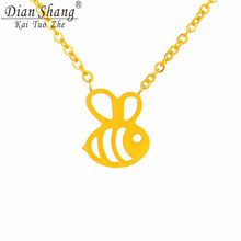 DIANSHANGKAITUOZHE 2017 Stainless Steel Bumble Bee Necklace Gold Silver Collier  Chain Tattoo Choker Cute Honey Bee Necklace