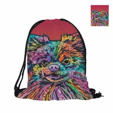 Fashion Cute Pomeranian Custom 3D Pet Dog Printing Double Sides Unisex Backpack School Bag Cheap Travel Drawstring Backpack