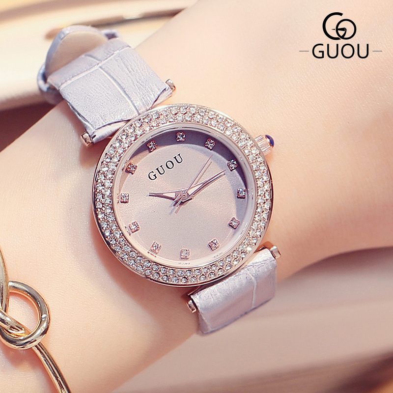 GUOU Crystal Diamond First Layer of Leather Japanese Movt Shockproof Dial Quartz Women Ladies Wrist Watch Clock Gift<br><br>Aliexpress