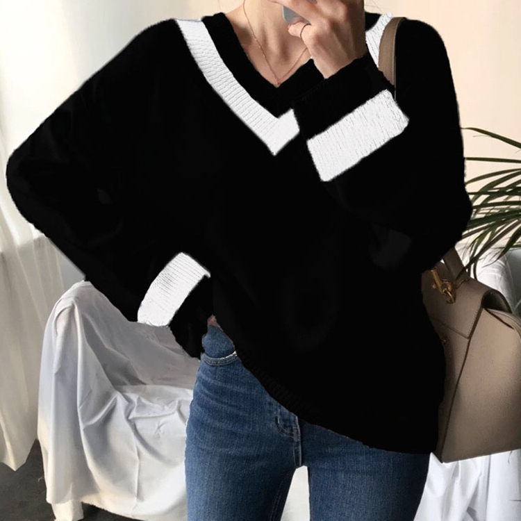 Colorfaith New 19 Autumn Winter Women's Sweaters Black White Pullover Korean Style Minimalist Casual Office Lady SW8853 8