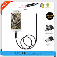 8MM Lens HD Android USB Endoscope 2M/5M/10M Cable 6 LEDs Inspection OTG Borescope Endoscop Waterproof Mini Camera For Android PC