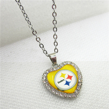 10pcs/lot USA Pittsburgh Steelers Heart Necklace Pendant Jewelry With Chains Necklace DIY Jewelry Football Sports fan Charms(China)