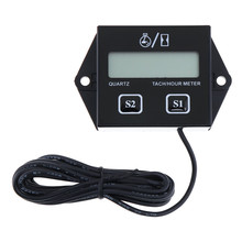 Universal IP65 Waterproof 3/8 inchLCD Display Digital Tachometer Hour Meter for Motorcycle / Boat Engines