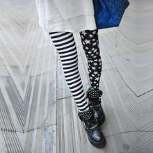 Fashion Spring Women Leggings Stars Stitching Stripe Leggings Elastic Girls Pants(China)