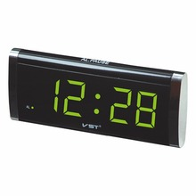 VST730 1.4 inch LED table clock large display clock blue green red color desktop with AC power EU plug alarm clock(China)