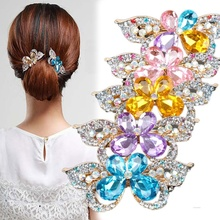 1PC Rhinestone Barrette Butterfly Hairclips Hairgrips Hairpins Headwear Barrettes Hair Pins Clip Ornament Trinket Accessories(China)