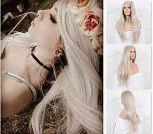 COS Icy Silver Hair Long Silky Straight Natural Grey Hair Synthetic Lace Front Wig Fashion Heat Resistant Fiber Free Shipping