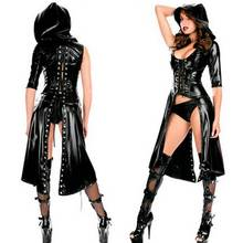 Buy Women Sexy Dress+Underwear Black Leather PVC Erotic Leotard Costumes Latex Bodysuit Catsuit Scallop Bodycon Dress Clubwear
