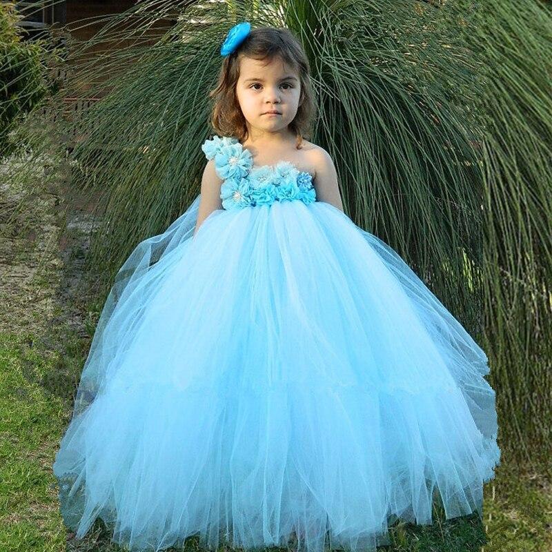 Light Blue Flower Girl Tutu Dress Pageant Vestido Tulle Princess Dress Kids Party Wedding Ball Gown Children Flower Girl Dresses<br>