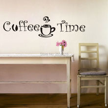 Coffee Time Quote Wall stickers Vinyl Home Decor Mural for Kitchen Cafe Decoration