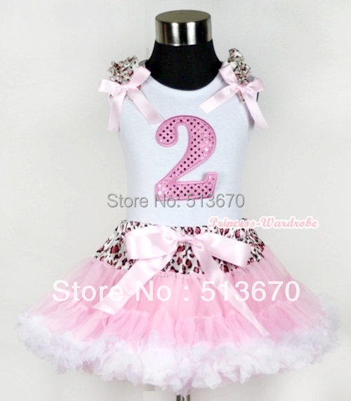 White Tank Top 2nd Light Pink Birthday Number &amp; Light Pink Leopard Ruffles Bow Leopard Waist Light Pink White Pettiskirt MAMG434<br>