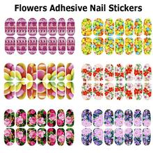 Missrose 7pcs/lot Flowers  Full Cover Polish Nail Patch Art Manucure Nail Decorations Luminous Adhesive Nail Stickers Decals