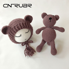 CN-RUBR Crochet Baby Hat Knitted Bear Handmade Newborn Photography Props Baby Cap Beanie 11 Color Photo Accessories Gift(China)