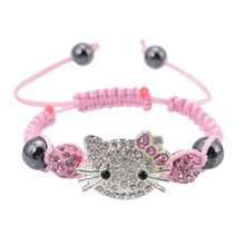 Handmade Cute Children Cat Hello Kitty Bracelet for Kids Girls Boys Shamballa Beads Connected Braid Charm bracelet Jewelry(China)