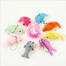 Hot Sale 10cm 40pcs/lot wholesale saml Animal Plush TOY,Dolphin toy Phone Pendant Lanyard Chain,Key Chain promotion toy gifts