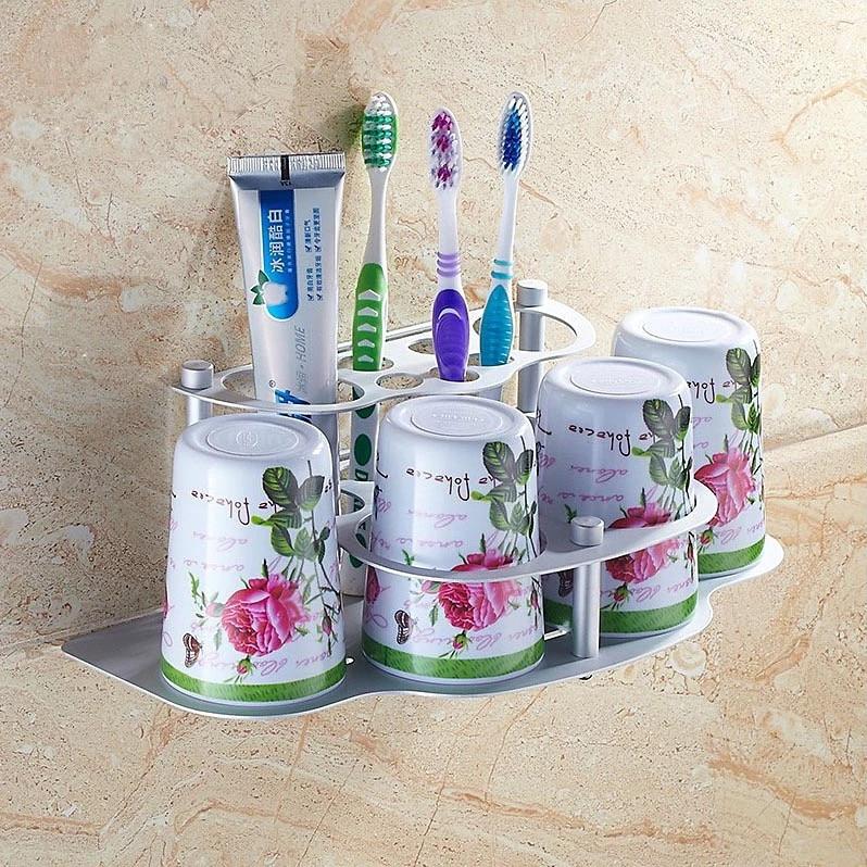 Bathroom toothbrush cup shelf bathroom cup holder toothbrush 3pcs set bathroom accessories<br><br>Aliexpress