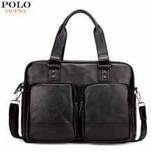 VICUNA POLO Promotion Big Size Men Travel Bags With Large Pockets High Quality Black Leather Travel Bag Fashion Men Handbag Tote