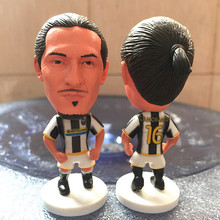 Soccerwe Classic Season 2.55 Inches Height Football Dolls Series A JUV Player 16 Camoranesi Doll Black White Kit Gift