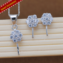 Diamond Pendant Holder&Earrings Fittings 2Pieces Jewelry Sets Components S925 Sterling Silver Pearl Jewelry Findings(China)