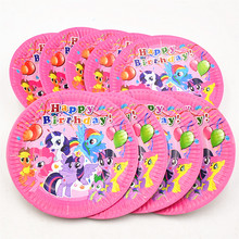10pcs/set 7inch My Little Pony Theme Party Supplies Children Kids Funny Hot Birthday Party Decoration Pony Plate Party Favors