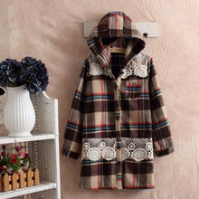 gray coat plaid manteaux femme chaquetones de mujer cheap winter coat autumn cape poncho women dames jassen mori girl vintage(China)