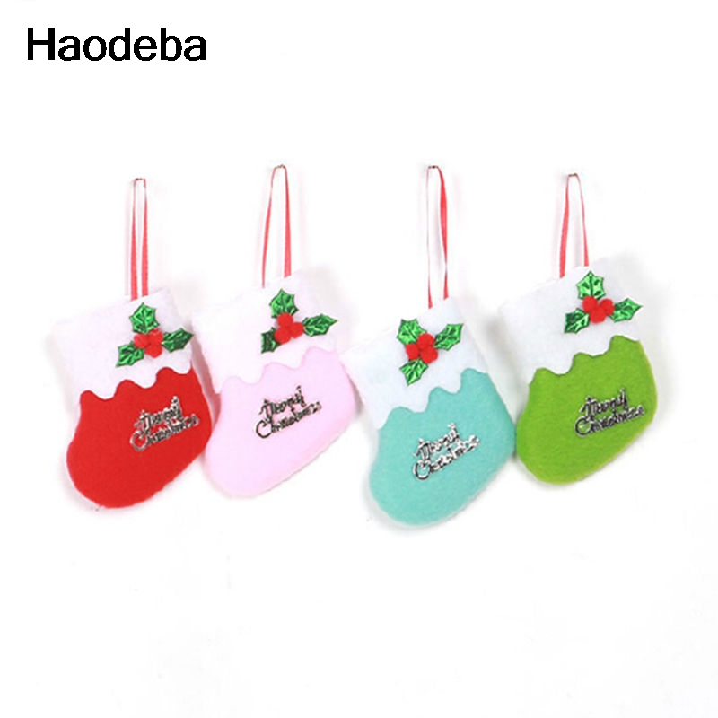 6 Christmas Ornaments Part - 48: Haodeba 6 Pcs Christmas Stocking New Year Candy Bag Stocking Hanging  Christmas Tree Decoration Christmas Ornament