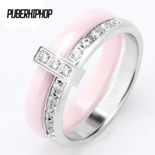 Buy 2017 Women Rings Stainless Steel False Two Piece Pink Ceramic Rings AAA CZ Wedding Brand Garden Ring Women Beautiful Jewelry for $8.31 in AliExpress store