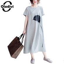 Buy Oladivi Brand Casual Women Clothing Fashion Print Ladies Loose Shirt Dress Long Tunic Plus Size Summer Dresses 2018 New Vestidos for $19.34 in AliExpress store