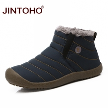 JINTOHO 큰 Size Winter Men Shoes 패션 눈 Shoes Unisex Warm Winter Men Boots 고무 남성 가죽 Boots 숏 발목 부츠(China)
