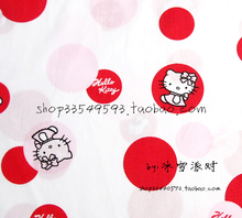 140X100cm Red Polka Dot Hello Kitty White Background Cotton Fabric for Baby Girl Clothes Sewing Bedding Set Patchwork-AFCK484