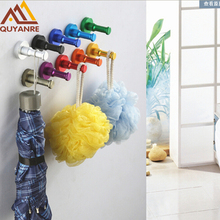 1 PC Aluminum Clothes Candy Color Decorative Bathroom Hooks Wall Mounted Hanger & Towel & Coat & Robe Hook