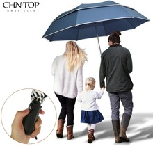 Brand Large Folding Umbrella Men Rain Woman Double Golf Business Gift Umbrella Semi-Automatic High Quality Windproof Umbrellas(China)