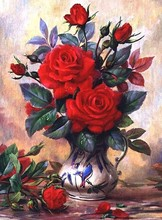Full diamond embroidery Vase of red roses picture diy 5d diamond painting home decor diamond mosaic Needlework cross stitch