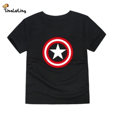 TINOLULING Boys Captain America T Shirt Children Brand Tops Baby Girls Superhero Tees Kids Spiderman T-Shirt  For 2-14 Years