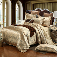 Golden Jacquard Luxury Bedding Sets Queen/King Size Duvet Cover Set Wedding Bedclothes Bed Linen Bed Sheet