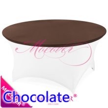 chocolate spandex tablecloth table cover fit for 5ft-6ft round tables,lycra top cover for wedding,banquet and party decoration