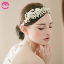 LUOSU Free Shipping Floral Decorated Vintage Crystal Wedding Headband Hair Accessories Elegant Bridal Tiara For Women(China)