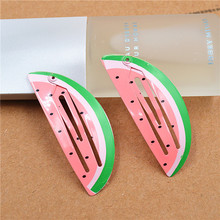 2PCS Creative Birdie Watermelon Pineapple Fruit Hairpins Girls Hair Accessories Children Headwear Baby BB Hair Clips Headdress(China)