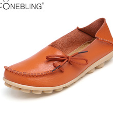 Plus Size 35-44 Genuine Leather Women Shoes 2017 Spring Fashion Soft Lace-up Casual Flat Shoes Peas Non-Slip Outdoor Shoes(China)