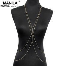 MANILAI Fashion PC Gold Color Chain Necklaces Women Simple Jewelry Double Rhinestones Inlay Beach Necklace Sexy Accessories