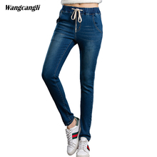 jeans women tight large size XL 5XL blue stretch elastic waist decoration moustache effect Tight-fitting jeans woman wangcangli