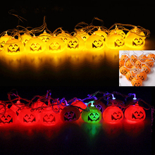 16pcs/Lot Mini Halloween Pumpkins LED String Lights Lanterns Lamp for DIY Halloween Holiday Party Decoration Festival Lighting