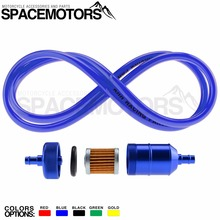 6mm Universal Anodized alloy Oil Fuel Gasoline Filter & 1000mm cable for carb Motorcycle Pitbike Dirt Bike ATV Quad Inline parts