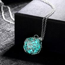 Fashion Luminous engagement silver Pendant Necklace Fluorescent Stone Hollow cheap Glow In The Dark For Women Night Light(China)