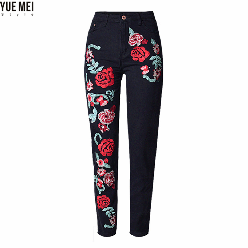 2017 Spring Black Women Embroidered Jeans 3D Rose ...