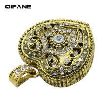 QIFANE 32GB 64G U Disk crystal heart pen drive 4G 8G 16G diamond USB Flash Drive Jewellery jewelry business gift memory stick